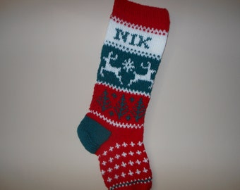 Personalized Christmas Stocking Hand Knitted  with Reindeer Christmas Gift Christmas Decoration