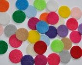 "100 Felt Circles,1 inch, 1. 25"" 1.5""  Felt Circles,  Bright color, Colorful felt Craft supply,  Flower backing, Acrylic felt,"