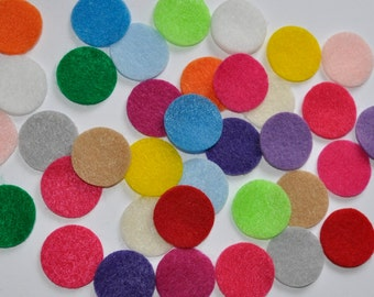 "100 Felt Circles, 0.5"", 0.75"", 1 "", 1. 25"", 1.5"", 2""  Felt Circles, Multi rainbow colors,  Flower backing, eco felt,"