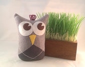 Hazel the Upcycled Stuffed Owl Toy Plush Mini Pillow Softie Made From a Sweater