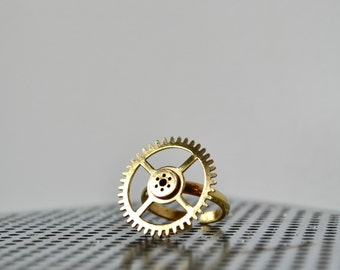 Steampunk Gear Ring - Industrial Steampunk Jewelry - Vintage Hardware Ring