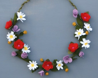 Felt Wildflower Wreath - Summer Wreath with Felt Flowers - Bohemian Decor