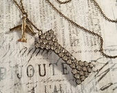 Vintage Double Charm Necklace - Rhinestone and Airplane