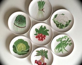 Italian Vegetable Ceramic Plates Set of Seven (7)  Made in Italy Mid-Century Modern