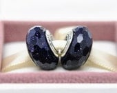 High Quality S925 Silver Screw Core Abstract Faceted  Midnight Blue Charm Murano Glass Beads - Fits European Charm Bracelets /ZS303