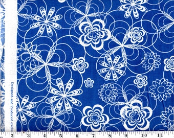 1 yd 32 in, White Floral on Blue