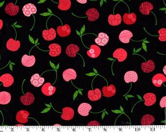 1 Yard, Cherries on Black AGM Cherries D12893