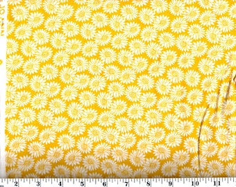 1 Yard, Packed Yellow Flowers Cotton