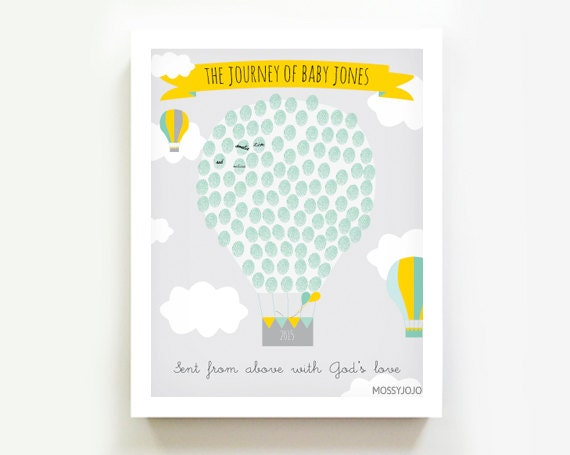Thumbprint guestbook hot air balloon baby shower by mossyjojo for Balloon decoration book
