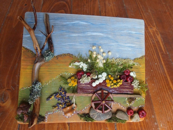 Items similar to natural materials 3d collage assemblage for Painting with nature items