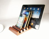 Five device solid wood ipad, iphone stand.  Oak, Black Walnut or Lace wood.