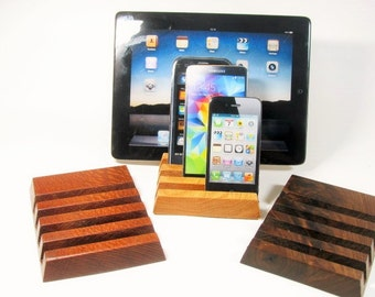 Four device solid wood ipad, iphone stand.  Oak, Black Walnut or Lace wood.