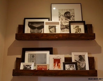 The Whilma. Custom (made to order) Natural Wood Photo shelf. Made of reclaimed pallet wood.