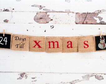 Days Till Christmas Burlap Banner, Christmas Banner, Burlap Banner, Advent Calendar, Christmas Countdown, B018