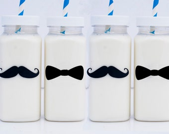 10 or More, Bowties and Mustaches Milk Bottles, Little Man Plastic Milk Bottles,  Little Man Chalkboard Labels & Caps