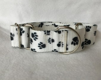 """White w/Black Paws Martingale or Quick Release Collar Patterned Webbing Nylon 3/4"""" 1"""" Martingale 1.5"""" Martingale 2"""" Martingale"""