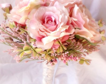 Silk flower wedding bouquet. blush wedding.  Silk bouquet. Bridal bouquet. YOUR COLORS. blush. bridesmaid bouquet.  2017 wedding trends.