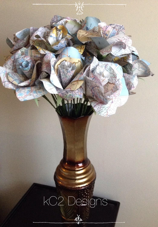 Map paper roses set of wedding centerpiece