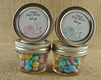 Personalized Shower Favors-Elephant Shower Design-Twenty 4 Oz Quilted Jelly Jars or 12 8 Oz Square Mason Jars With Custom Sticker Labels