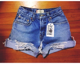 Shredded Fold High Waist Shorts
