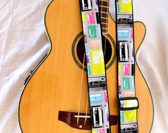 Retro Tape Cassettes Guitar Strap