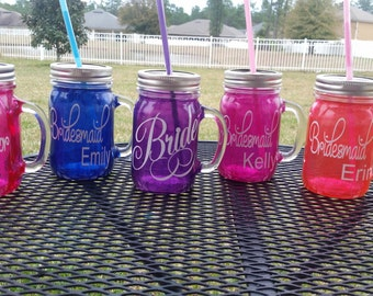 Personalized Wedding Bachelorette MASON JAR Sippy Tumbler - Glass with Handle - Choose your Color and Lettering - Weddings Welcome