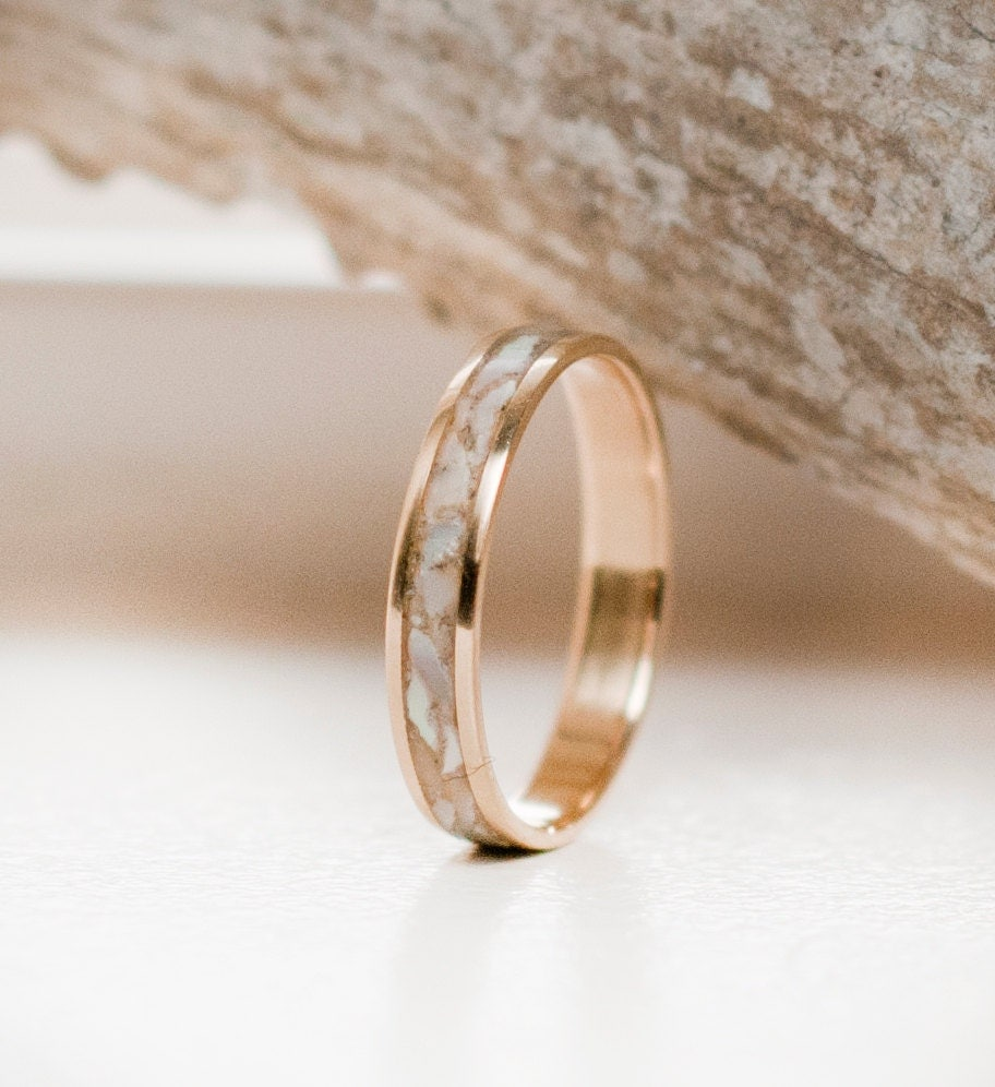 Pearl Wedding Rings: Womens Wedding Band Mother Of Pearl & 10K Gold Stacking Ring