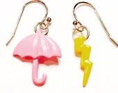 Umbrella earrings- dainty earrings- dangle earrings- pink umbrella earrings- gift for her