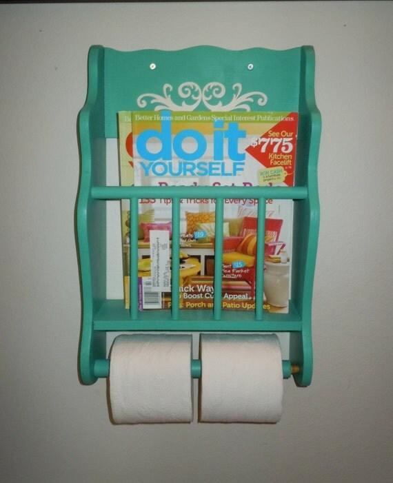 Vintage Magazine Rack With Toilet Paper Holder. Solid Wood