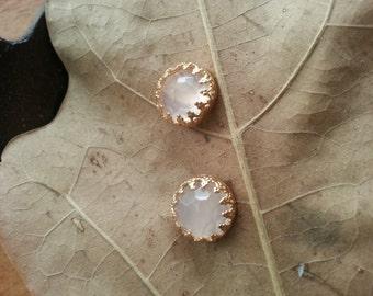 Golden Stud Earrings, Rose Qurtz, Qurtz Gemstone, Post Earrings