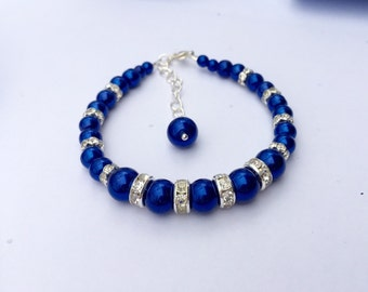 Royal Blue Glass pearls Bracelet. Pearl Wedding Jewelry, Bridal Party Gift, Bridesmaid Royal Blue Jewelry