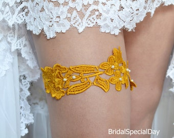 Mustard Orange Garter, Wedding Garter Set, Lace Garter, Orange Garter, Handmade Garter, Wedding Accessories, Wedding Garter,  Orange Gift