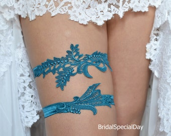 Wedding Garter, Wedding Garter Set, Blue Lace Garter, Wedding Garters, Handmade Garter, Bridal Garter Set, Teal Blue Garter, Blue Garter Set