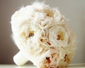 Fabric Bridal Bouquet, Brooch Bouquet,  Weddings, Vintage Wedding, Fabric Flower Bouquet, Ivory, Champagne