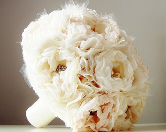 Fabric Bridal Bouquet, Brooch Bouquet,  Weddings, Vintage Wedding, Fabric Flower Bouquet - this is a 50% DEPOSIT ONLY