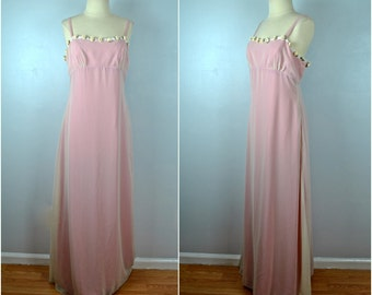 Vintage Pink Formal Gown, Wedding, Prom, Vintage Formal Gown With Rosettes