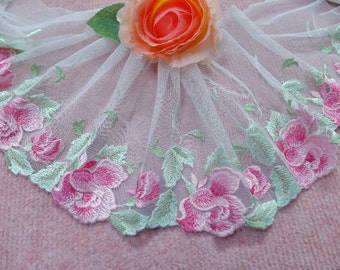 """CN005-6"""" White  Embroidered  Tulle Mesh Lace/Bridal/Lolita/  Trim by Yard"""