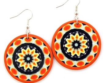 Tribal decoupage earrings, dramatic earrings, bright colorful earrings, bohemian earrings, orange dangle earrings, round gypsy earrings