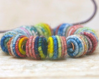 Textile Art Beads - Fabric Beads - Fiber Art Beads - Jewelry making - Mixed Media Supply