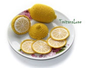 Crochet Fruit - Lemon+lemon slices (6 pcs)  - Seasons - Eco-friendly Decoration - Decor - Play food - Ð¡rochet toys