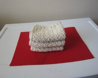 OFF WHITE CROCHETED Washcloths Sold in Set of 3