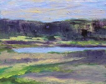 Oil Painting Maine Landscape River Painting Small Original Art Plein Air Painting Cradled Birch Panel Gilsland Farm Kathleen Daughan Artist
