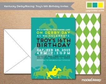 Kentucky Derby Birthday Invite Horse Racing Silhoutte BI501 ---Digital Download File---