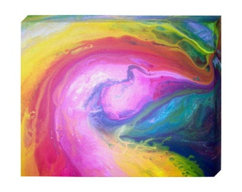 "Signed PRINT ON CANVAS of Original Modern Abstract Colorful Abstract Painting By Dan Lafferty - ""Melting Rainbow"" - Customer Chooses Size"