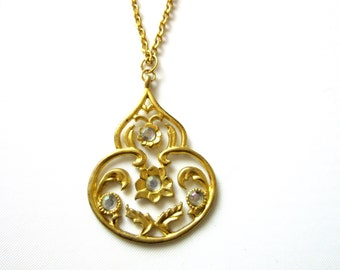 "Matte Gold Pendant Necklace with Rhinestones 19"" Inches"