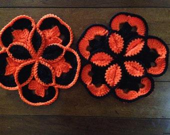 Extra Large Handmade Crochet Starburst Flower Pot Holders / Trivets / Hot Pads