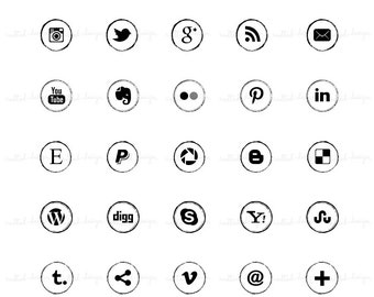 SM1 :. 25 Social Media Icon Buttons / For blog or website