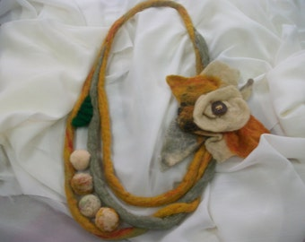 Felted Necklace ,Handmade Necklace, Wool Necklace, Original,Woman Gift