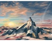"""Sunset Mountain with Dragon- 8.5"""" x 11"""" Print - Inspired by Ben Lomond/Hobbit"""