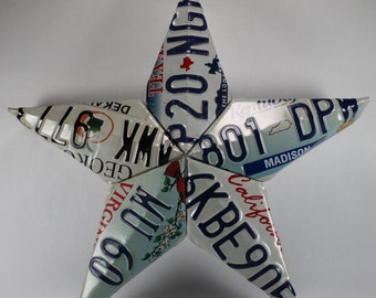 Metal Art Repurposed License Plate Barn Star, Wall Decor, Recycled